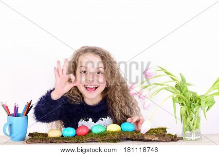 Happy Girl Painter With Pencil, Tulip Flowers, Colorful Easter Eggs
