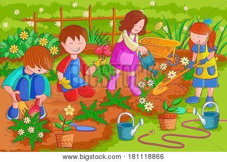 Vector design of kids enjoying gardening in summer vacation