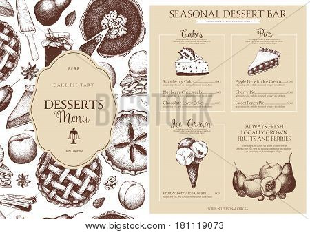 Vector card design with ink hand drawn fruit and berry baking illustration. Vintage template with traditional cake, tart and pie sketch. Sweet bakery. Top view.