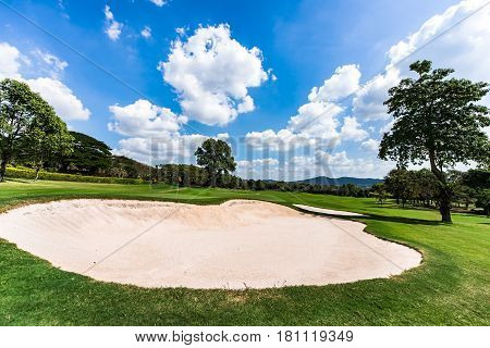 Sand bunkers at the golf course