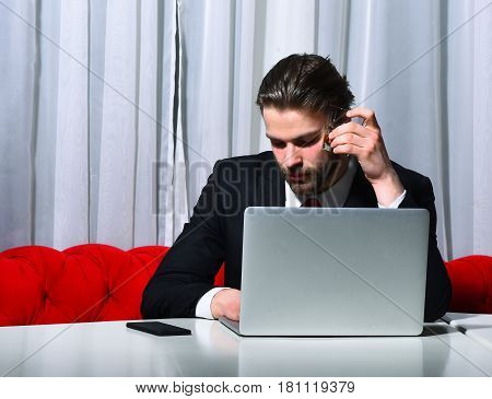 Bearded Man, Businessman Holding Glass Of Whiskey Sleeping At Laptop