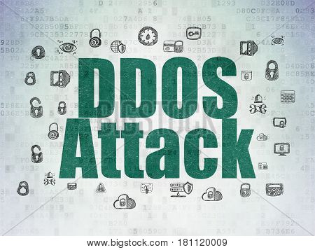 Privacy concept: Painted green text DDOS Attack on Digital Data Paper background with  Hand Drawn Security Icons