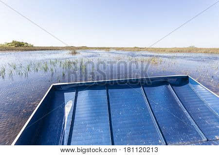 Airboat tour in the Everglades National Park. Florida United States