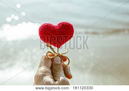 Heart On The Beach, Summer Sea Love Sand For Travel Background.