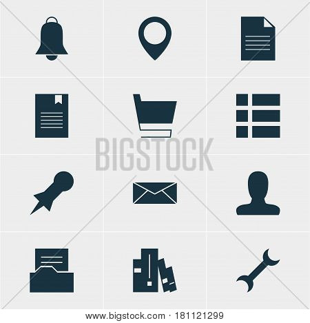 Vector Illustration Of 12 Web Icons. Editable Pack Of Map Pointer, Trolley, Document Directory And Other Elements.