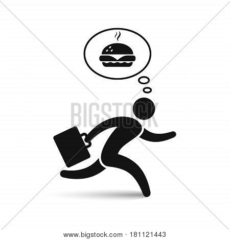 Businessman running to dinner. Businessman character hungry concept and thinking about food. Vector icon.