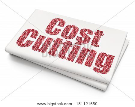 Business concept: Pixelated red text Cost Cutting on Blank Newspaper background, 3D rendering