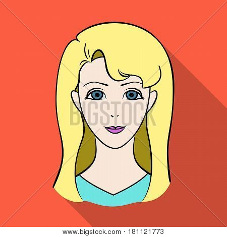 Avatar girl with white hair.Avatar and face single icon in flat style vector symbol stock web illustration.