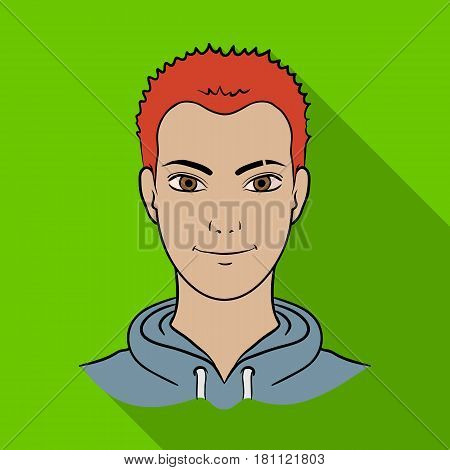 Avatar of a man with red hair.Avatar and face single icon in flat style vector symbol stock web illustration.