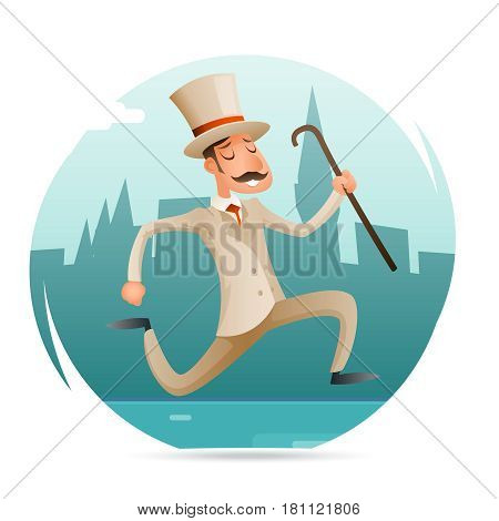 Running Gentleman Happy Victorian Hurry Wealthy Man Character Icon Retro Cartoon Vector Design Illustration