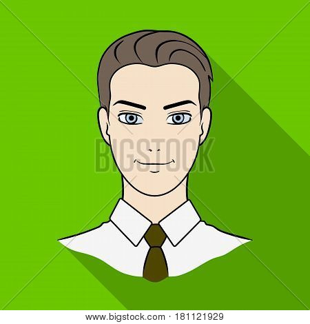 Avatar of a man in a shirt.Avatar and face single icon in flat style vector symbol stock web illustration.