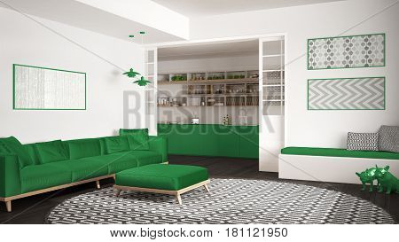 Minimalist living room with sofa big round carpet and kitchen in the background white and green modern interior design, 3d illustration