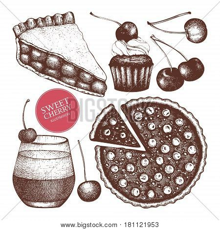 Vintage template with traditional cake, tart and pie sketch. Bakery menu on chalkboard . Top view.