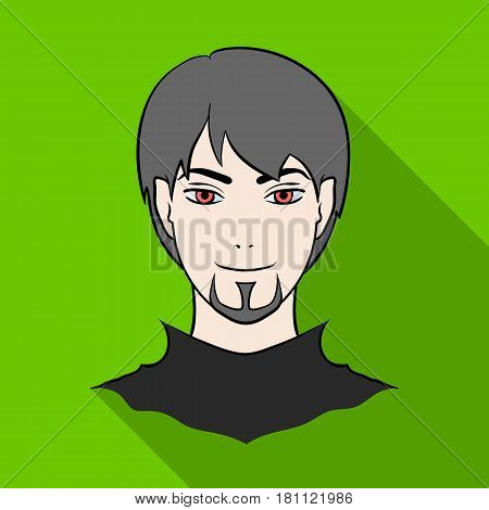 Avatar of a man with red eyes .Avatar and face single icon in flat style vector symbol stock web illustration.