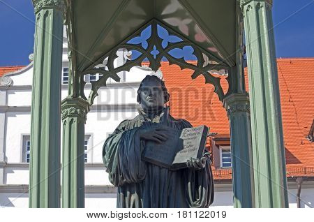 statue of Martin Luther in Wittenberg germany