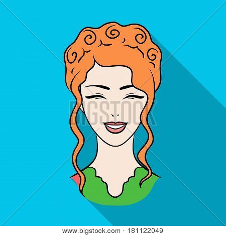Avatar of a Japanese girl with a hair.Avatar and face single icon in flat style vector symbol stock web illustration.