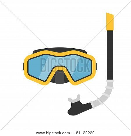 Diving mask and snorkel vector illustration. Equipment for snorkelling in flat style. Icon masks and tube for diving to a depth on a white background.