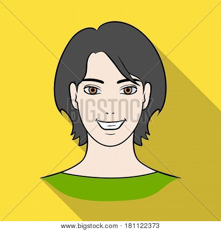 Avatar girl with short hair.Avatar and face single icon in flat style vector symbol stock web illustration.