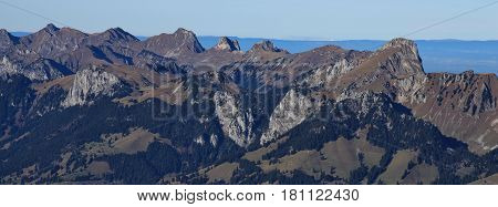 Mount Stockhorn and other mountains seen from mount Niesen. Mountain range in the Bernese Oberland Switzerland.