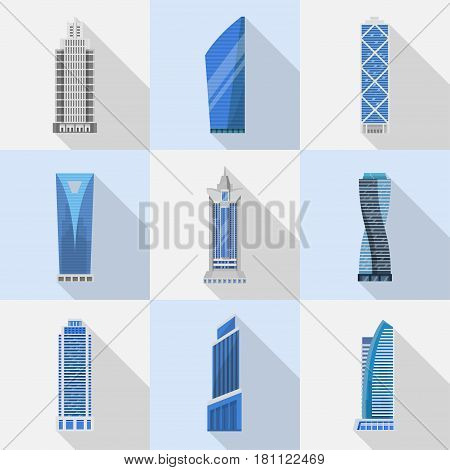 Skyscrapers vector set of isolated icons. Modern high-rise buildings, skyscrapers, tower in a flat style. A variety of business skyscrapers or office buildings, elements of an urban environment.