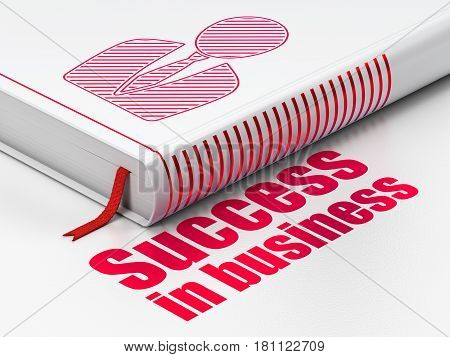 Finance concept: closed book with Red Business Man icon and text Success In business on floor, white background, 3D rendering