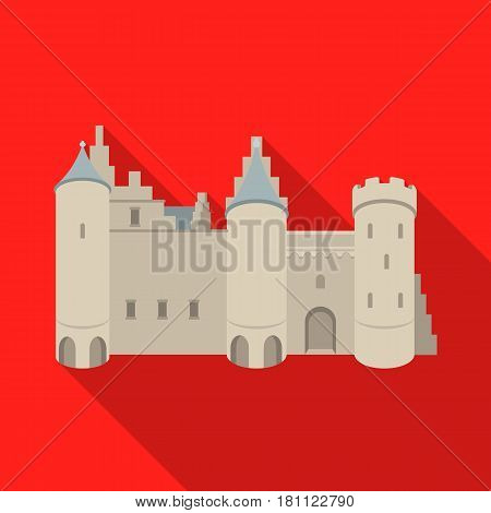 Protective Castle of belgium.The dark Belgian wolf. Belgium single icon in flat style vector symbol stock web illustration.