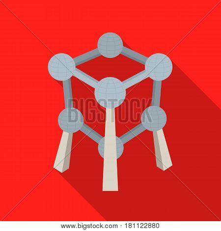 Monument to the atom in Belgium.The dark Belgian wolf. Belgium single icon in flat style vector symbol stock web illustration.