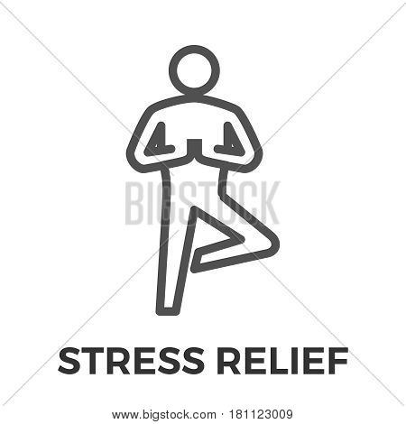 Stress Relief Thin Line Vector Icon Isolated on the White Background.