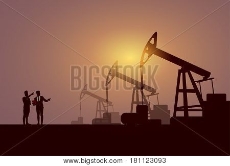 Business People Group Pumpjack Oil Rig Crane Platform Banner Flat Vector Illustration