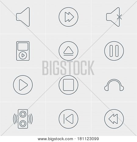 Vector Illustration Of 12 Music Icons. Editable Pack Of Soundless, Speaker, Mp3 And Other Elements.