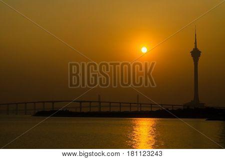 Macau tower and sunset at macau china