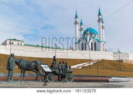 Kazan, Russia - March 28.2017. Monument to the benefactor against the backdrop of the Kazan Kremlin. Russia, the Republic of Tatarstan
