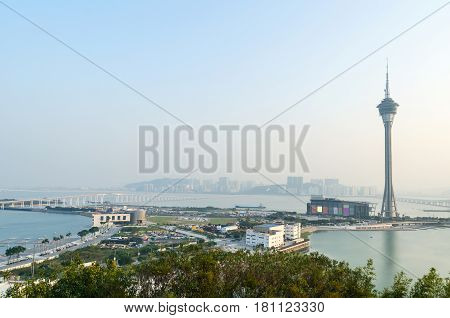 Macau tower and cityscape in evening at macau china