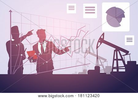 Business People Study Pumpjack Oil Rig Sucess Graphic Crane Platform Banner Flat Vector Illustration