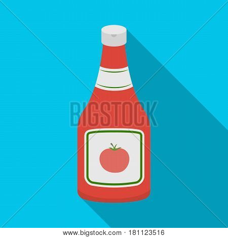 Bottle of ketchup.Burgers and ingredients single icon in flat style vector symbol stock web illustration.
