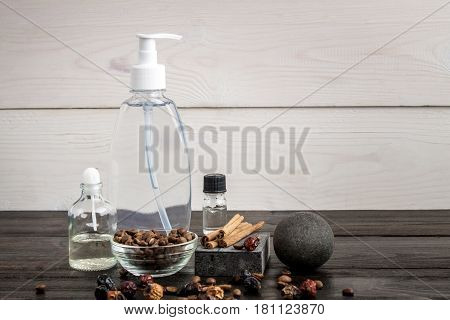 Everything you need to have great coffee bath. Copy space. Still life. Spa items