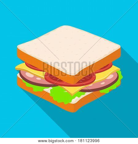 A sandwich with bread and sausage.Burgers and ingredients single icon in flat style vector symbol stock web illustration.