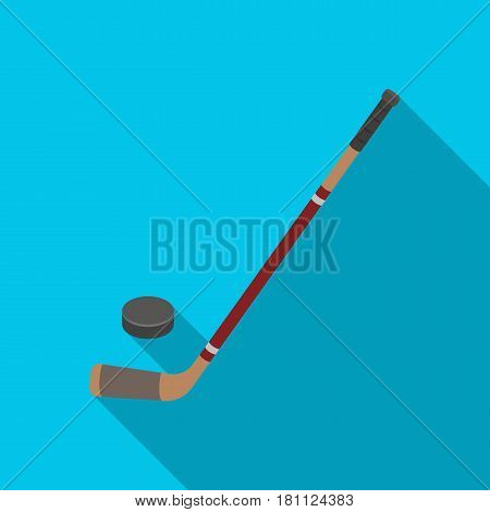 Hockey stick and washer. Canada single icon in flat style vector symbol stock illustration .