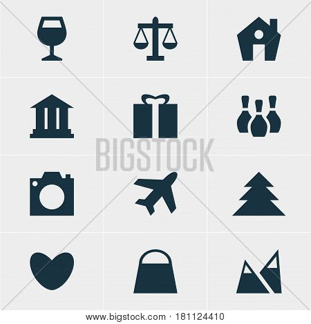 Vector Illustration Of 12 Map Icons. Editable Pack Of Wineglass, Present, Handbag Elements.