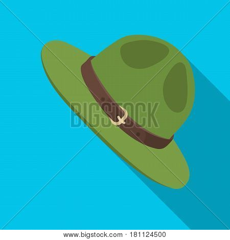Green hat of a Canadian ranger. Canada single icon in flat style vector symbol stock illustration .