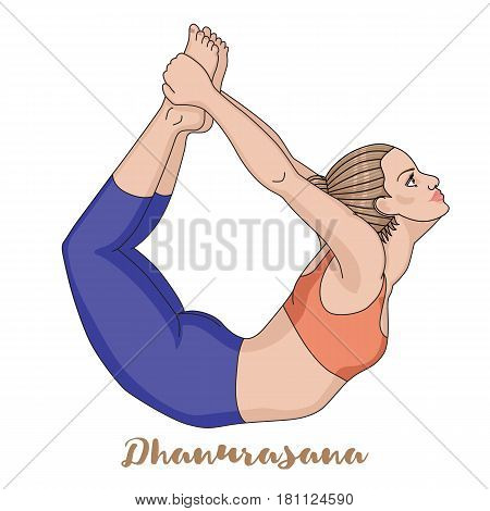 Women silhouette. Bow yoga pose. Dhanurasana Vector illustration