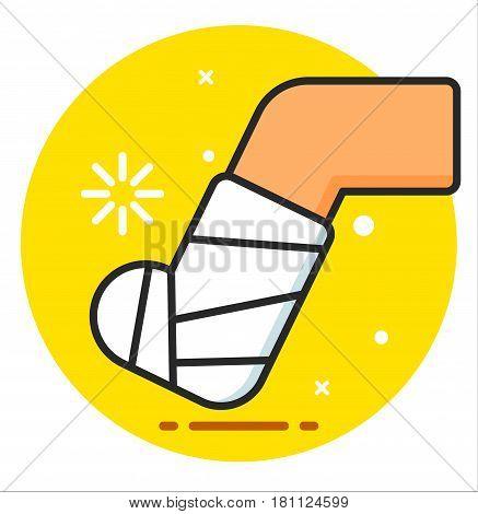 Feet Fracture leg Vector Icon design illustration