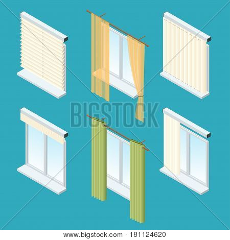 Isometric windows, curtains, drapery, shades, blinds Vector collection of various window treatments