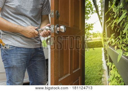 locksmith open the wood door to green park - can use to display or montage on product