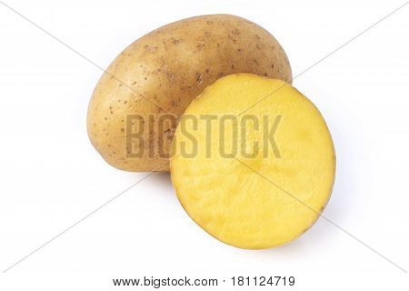 raw ripe potato tuber and half isolated on white background stacked focus image