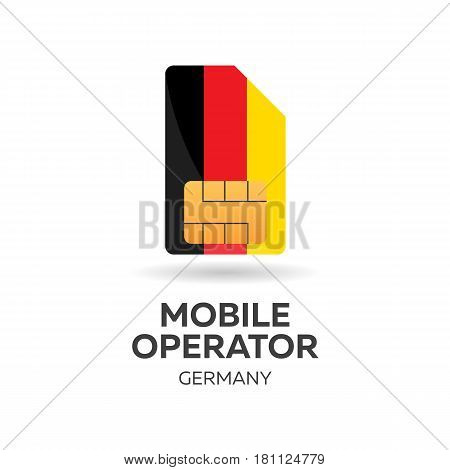 Germany Mobile Operator. Sim Card With Flag. Vector Illustration.