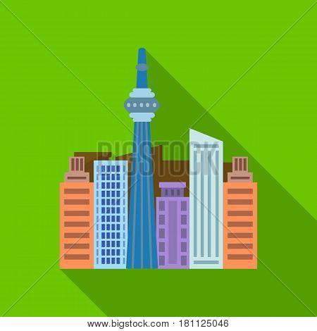 Canadian skyscraper. Canada single icon in flat style vector symbol stock illustration .