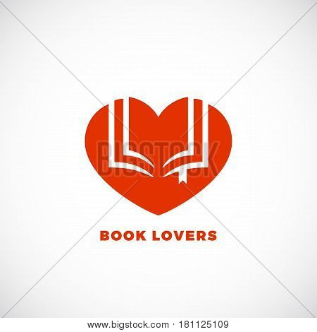 Book Lovers Abstract Vector Sign, Emblem or Logo Template. Negative Space Open Book in a Heart Silhouette. Isolated.