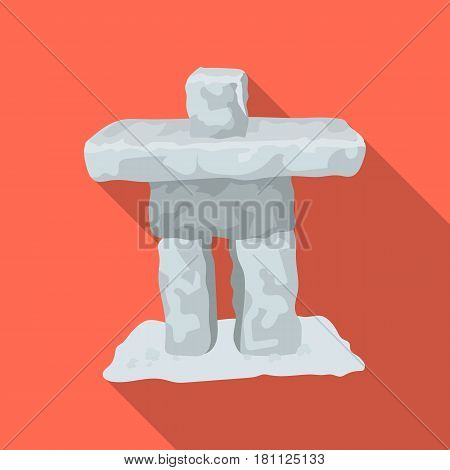 Stone sculpture in canada. Canada single icon in flat style vector symbol stock illustration .