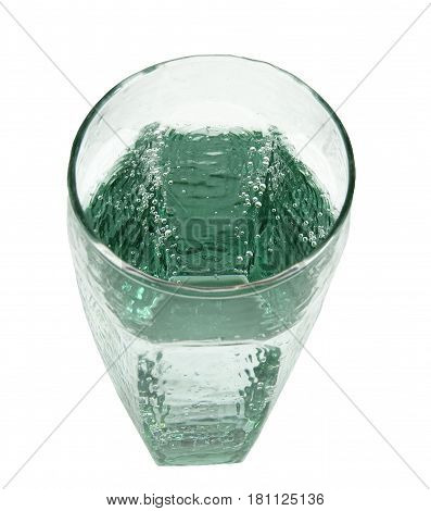 View of glass filled with sparkling water